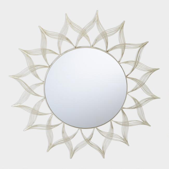 Matte Gold Wire Flower Mirror