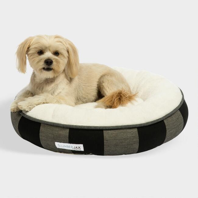 Small Round Black Checkered Sherpa Pet Bed