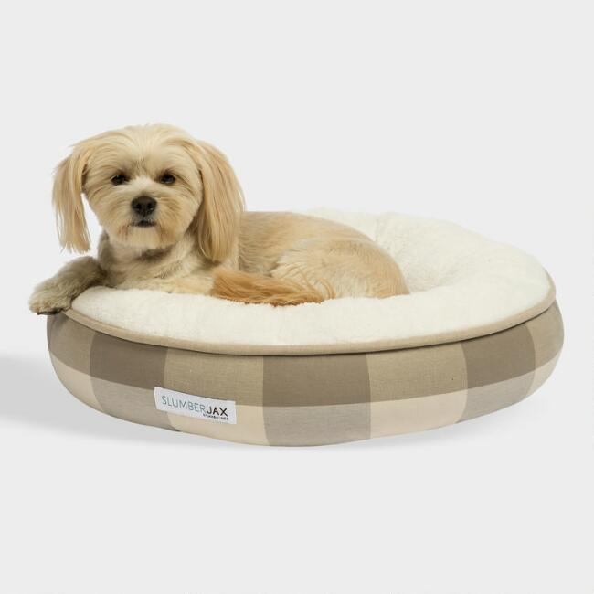 Small Round Tan Checkered Sherpa Pet Bed