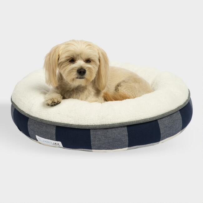 Small Round Navy and Ivory Checkered Sherpa Pet Bed