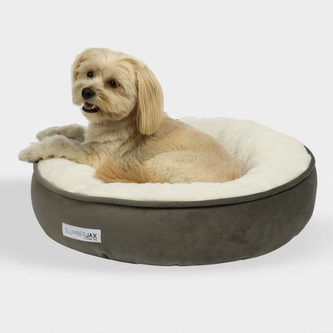 Small Round Gray Microsuede Sherpa Pet Bed