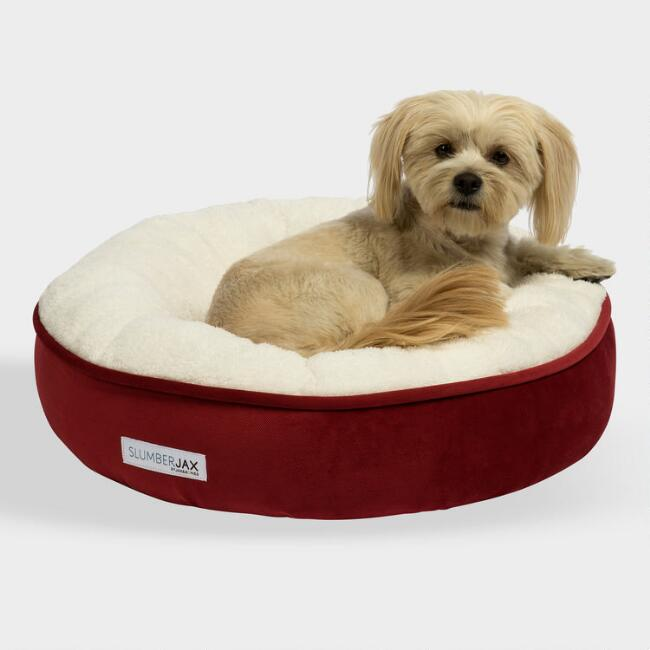 Small Round Red Microsuede Sherpa Pet Bed