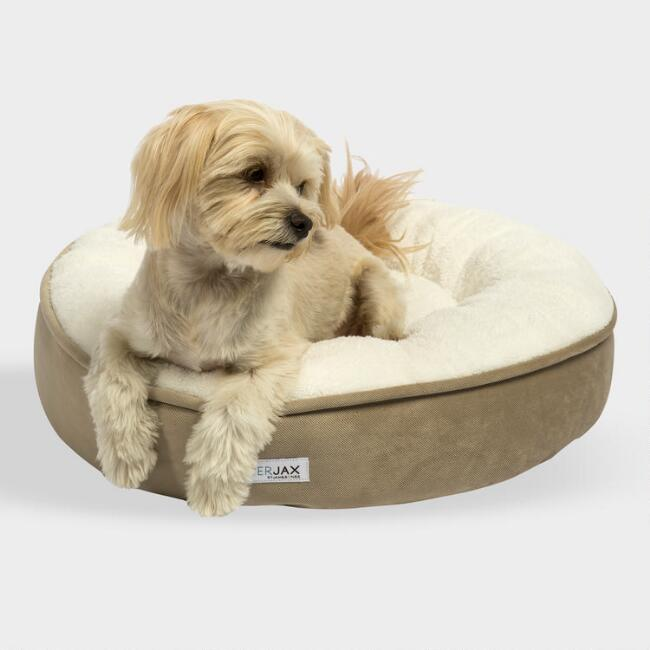 Small Round Tan Microsuede Sherpa Pet Bed