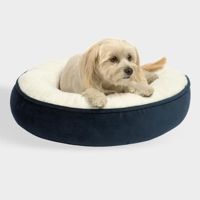 Small Round Navy Microsuede Sherpa Pet Bed