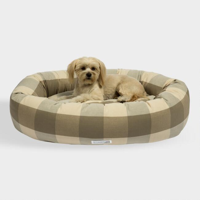 Round Tan Checkered Dog Bed