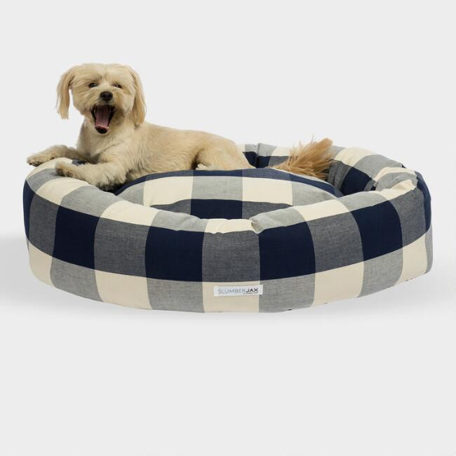 Round Navy Checkered Dog Bed