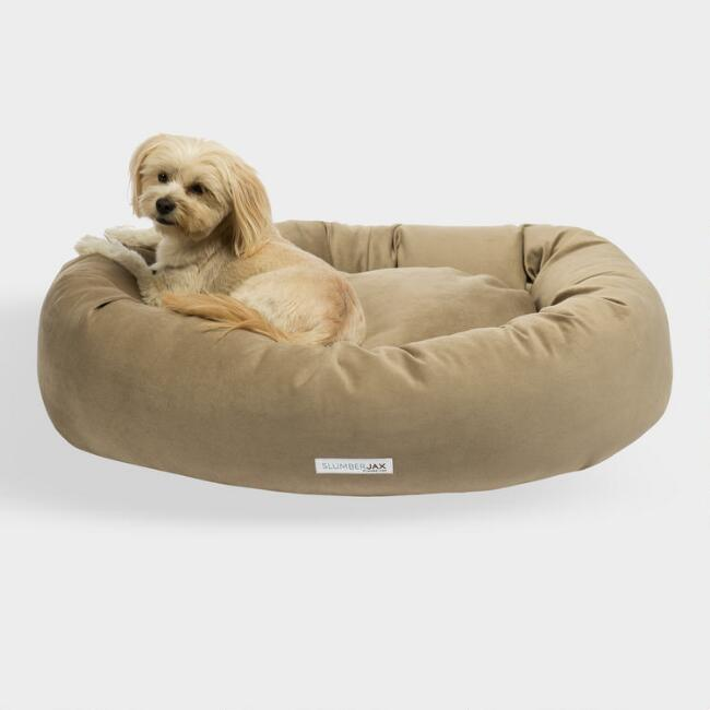 Round Tan Velour Dog Bed