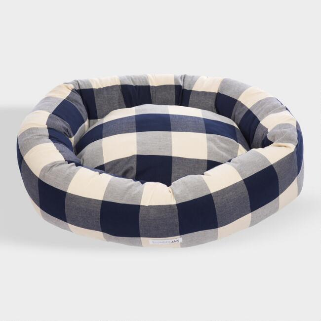 Large Round Navy Checkered Dog Bed