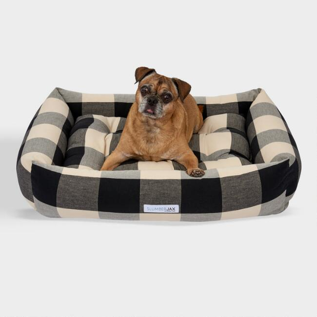 Rectangular Black Checkered Dog Bed