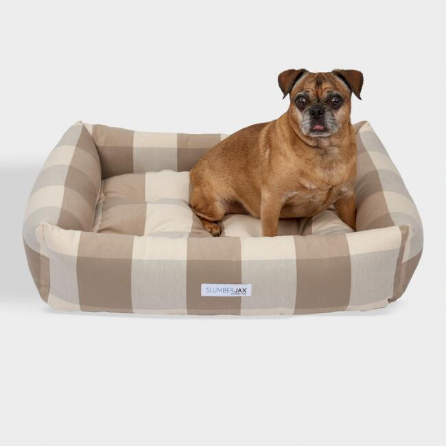 Rectangular Tan Checkered Dog Bed