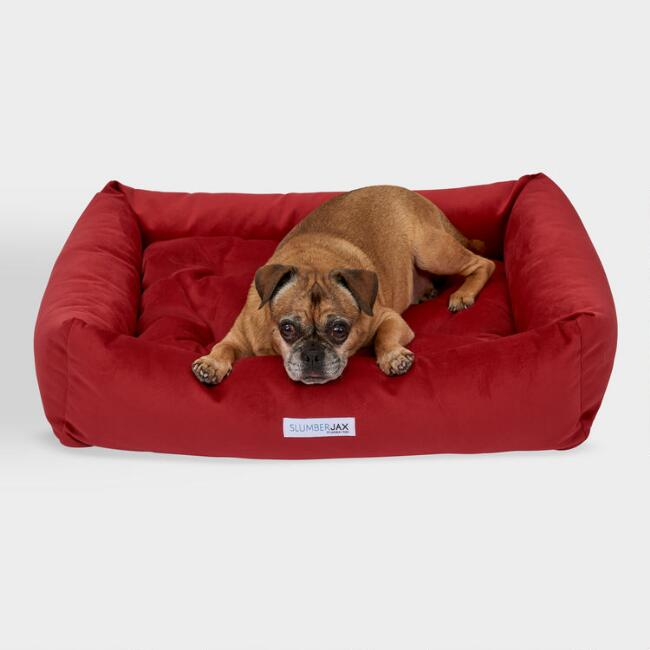 Rectangular Red Microsuede Dog Bed