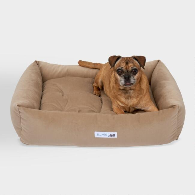 Rectangular Tan Microsuede Dog Bed