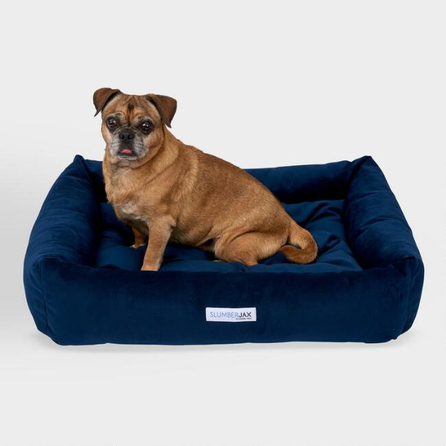 Rectangular Navy Microsuede Dog Bed