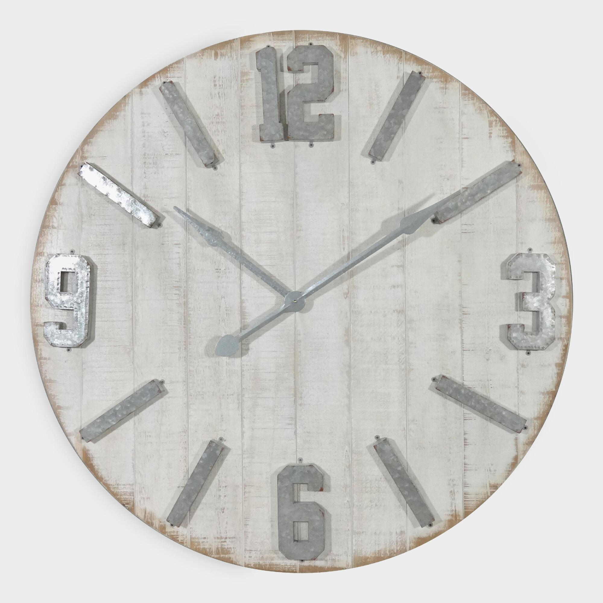 Rustic Whitewashed Wood Wall Clock by World Market