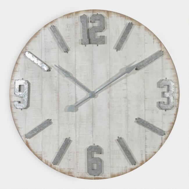 Rustic Whitewashed Wood Wall Clock