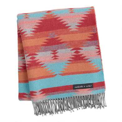Sackcloth & Ashes Red and Turquoise Diamond Throw Blanket
