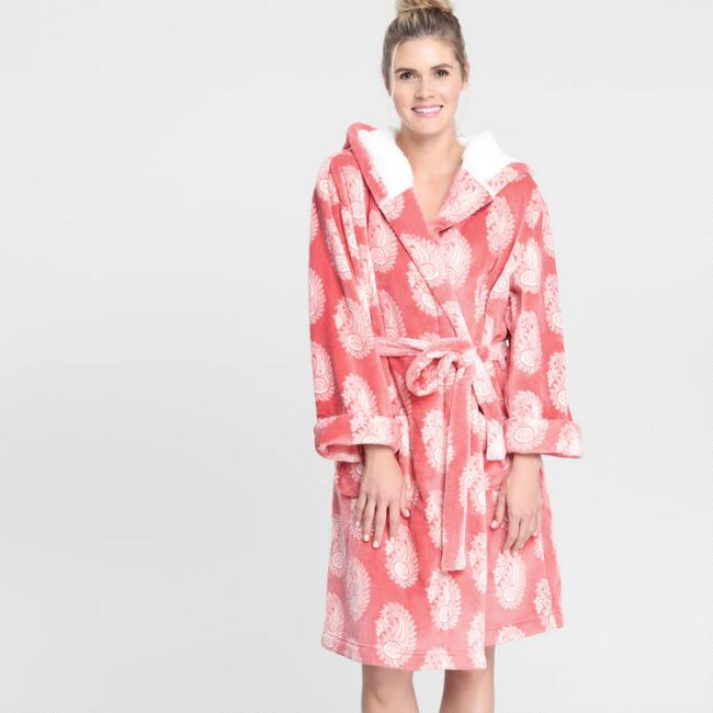 Coral Paisley Fleece Robe