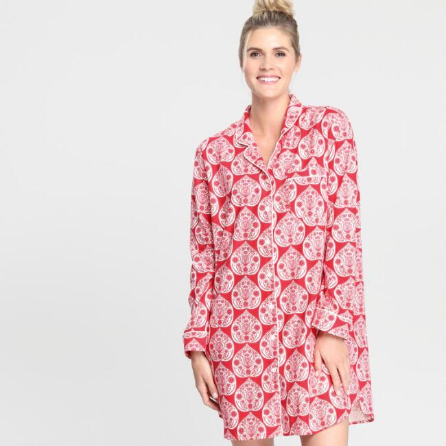 Red Jolly Hearts Flannel Pajama Nightshirt