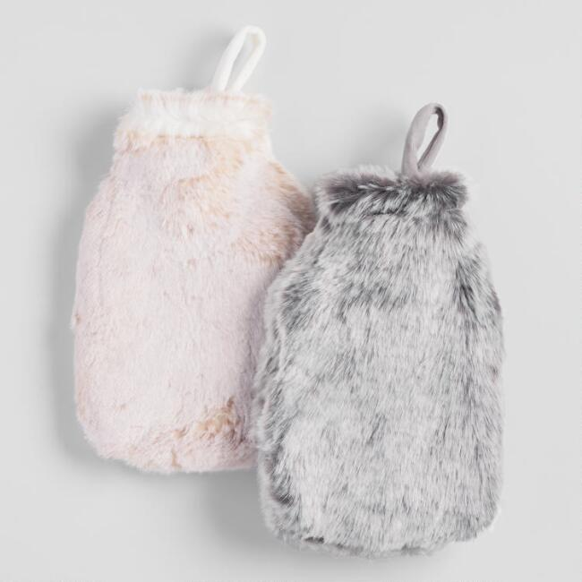 Gray and Cream Faux Fur Hot Water Bottles Set of 2