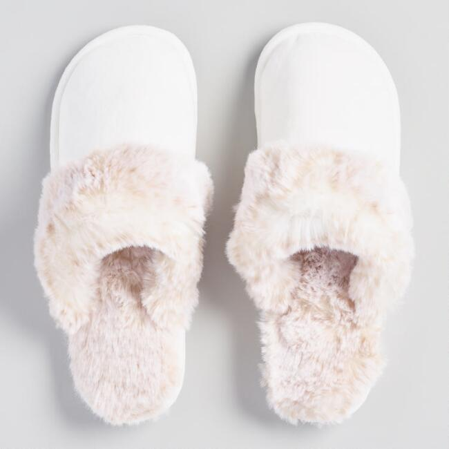 Cream Slippers with Tan Faux Fur