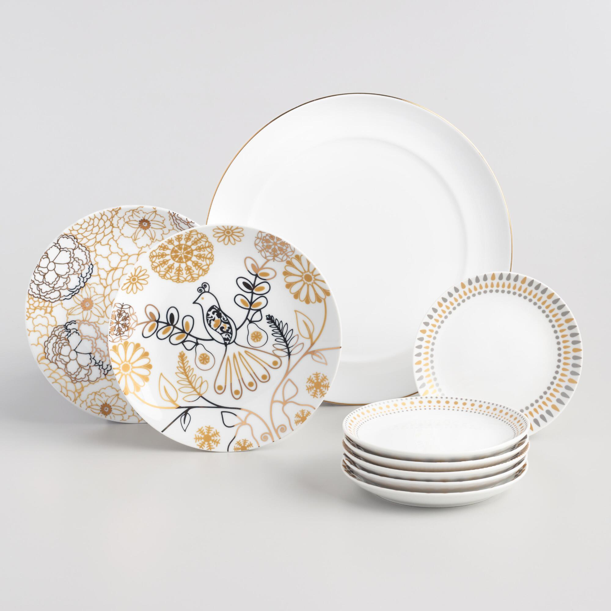 Metallic and White Dinnerware Collection by World Market