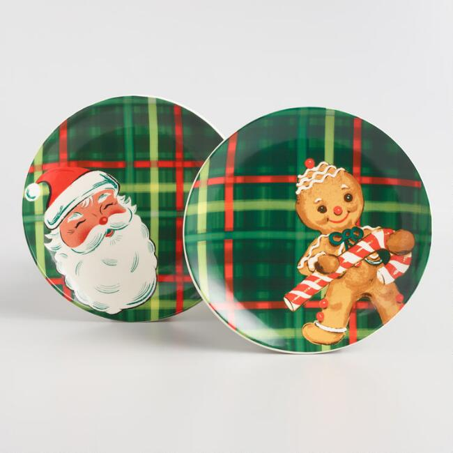 Plaid Retro Holiday Salad Plate Collection