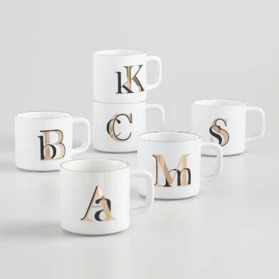 Gold Metallic Monogram Mug
