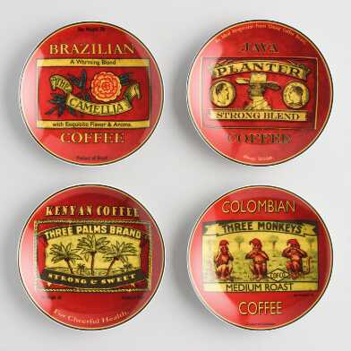 Vintage Coffee Label Plates 4 Count