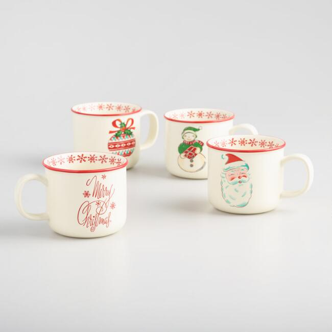 Retro Christmas Coffee Mugs Set of 4