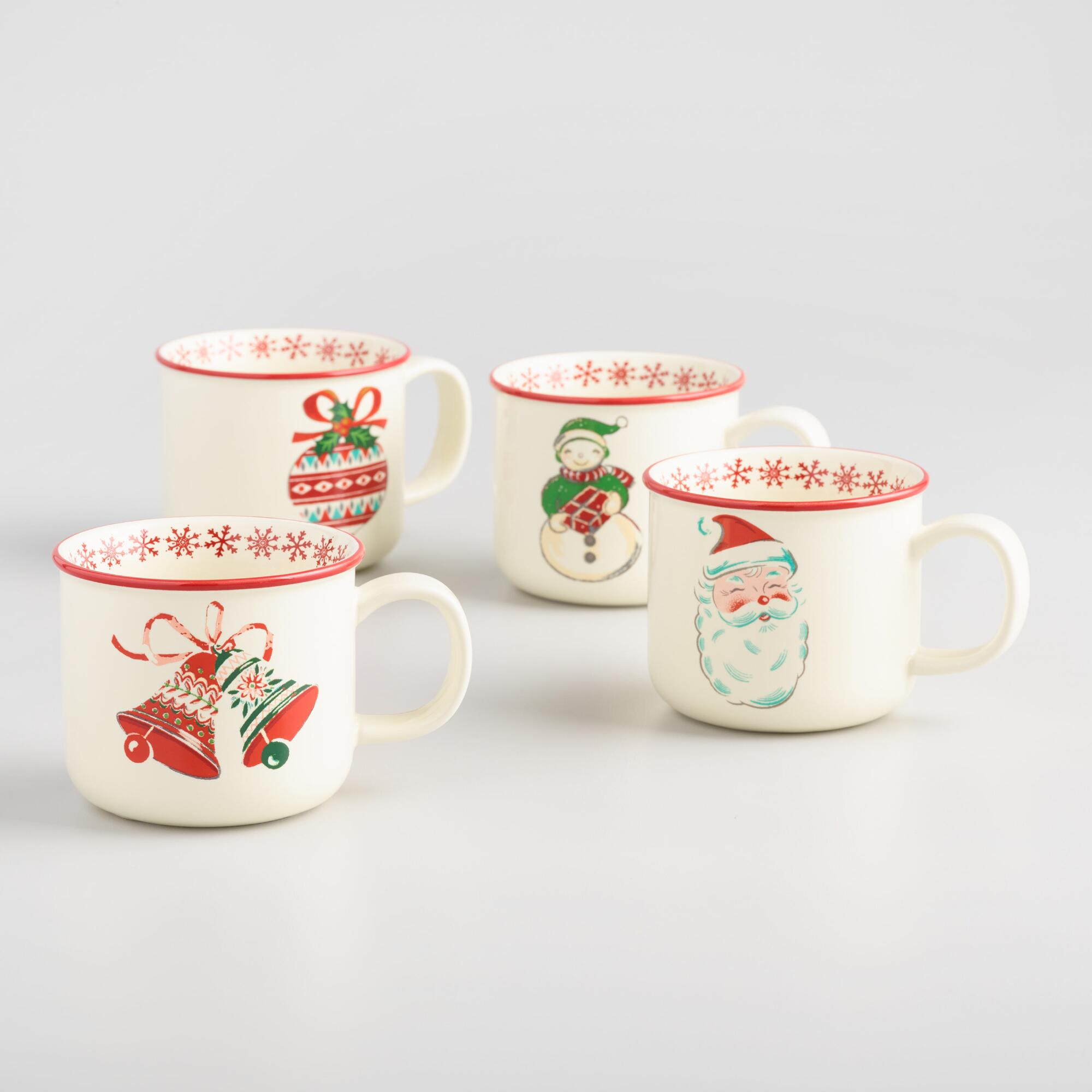 Retro Christmas Coffee Mugs Set of 4 | World Market