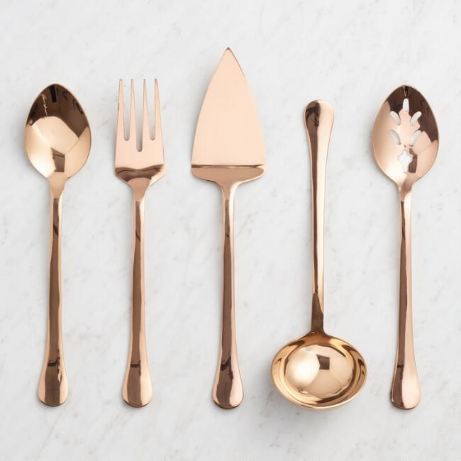 Rose Gold Buffet Serving Utensil Collection