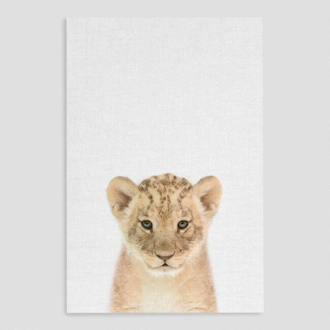 Snow Leopard Cub Stare Canvas Print Wall Art