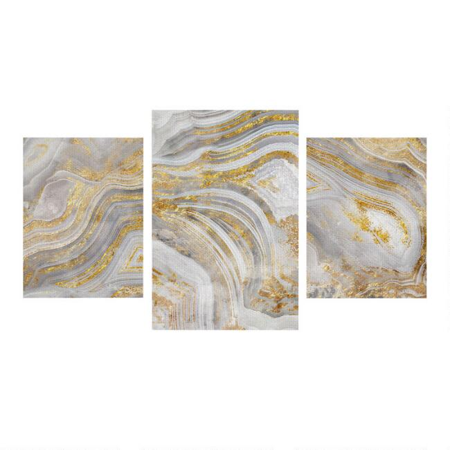 Natural Agate Canvas Wall Art 3 Piece