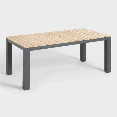 Gray Metal and Wood Alicante Outdoor Dining Table