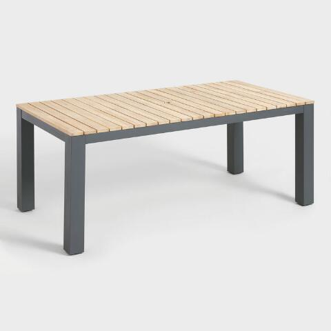 Gray Metal And Wood Alicante Outdoor Dining Table World Market