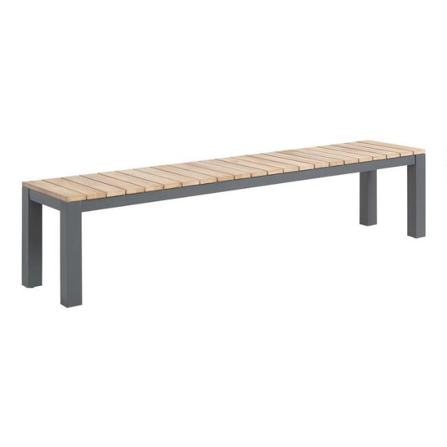 Gray Metal and Wood Alicante Outdoor Dining Bench