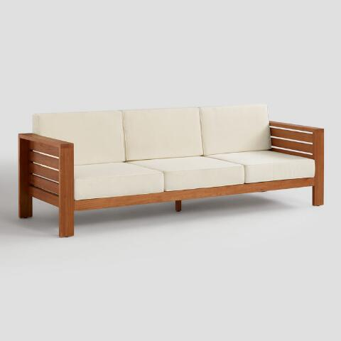 Wood Formentera 3 Seater Outdoor Occasional Sofa