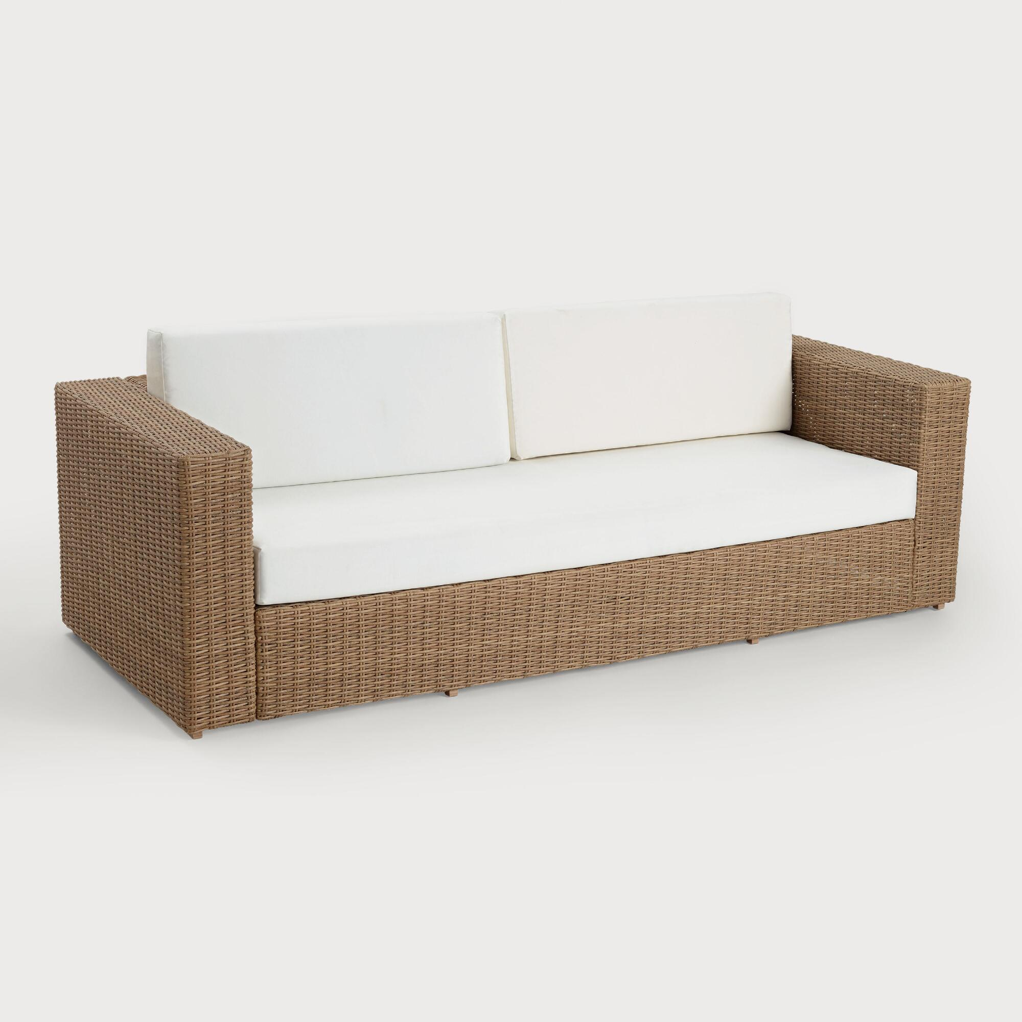 All Weather Wicker Vilamoura Outdoor Patio Occasional Sofa by World Market