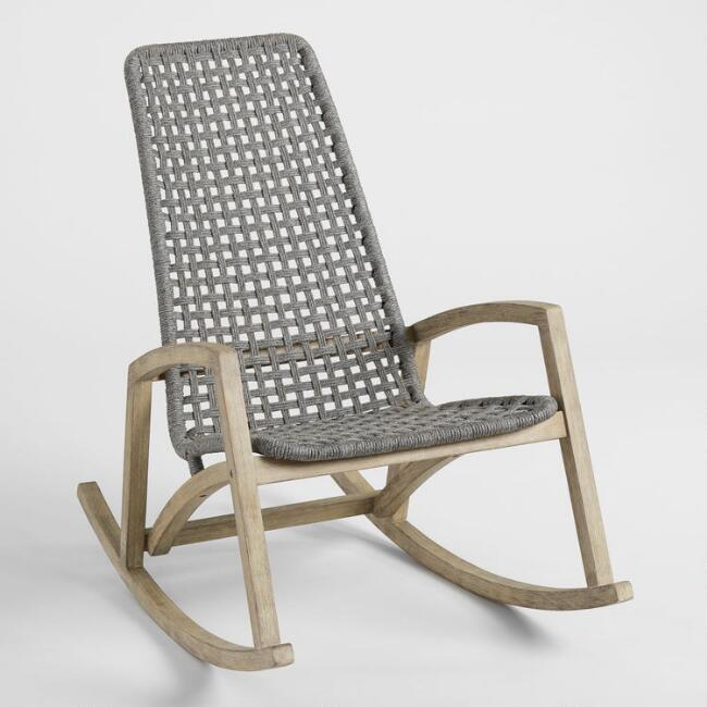 Gray Nautical Rope Rapallo Outdoor Rocking Chair by World Market