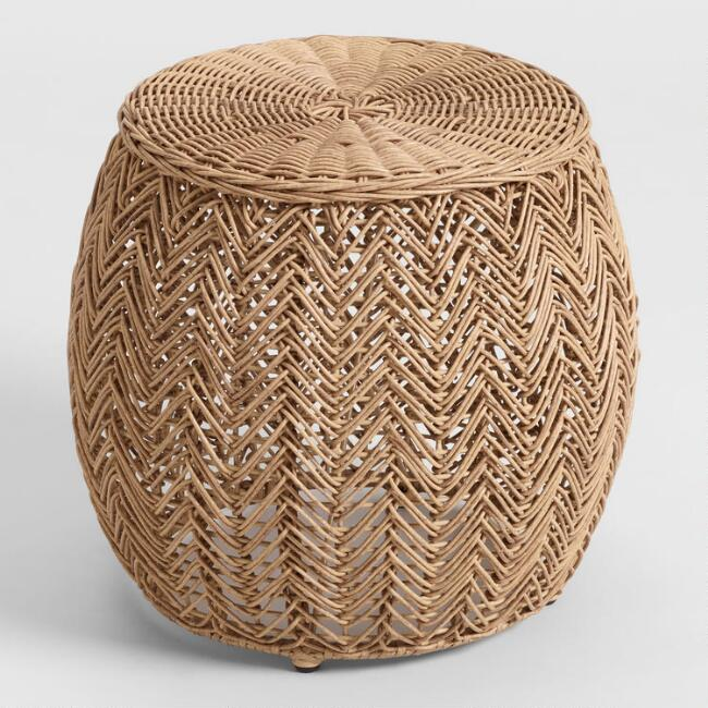 Natural All Weather Wicker Woven Trenton Outdoor Stool