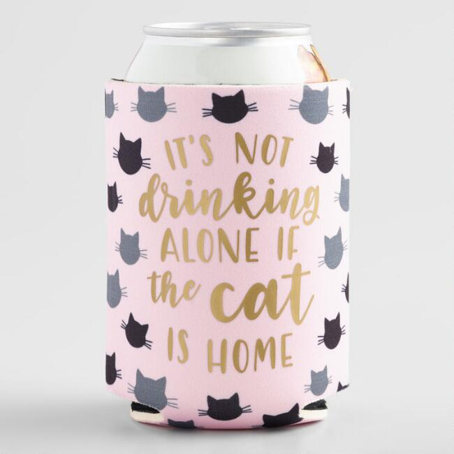 Drinking Alone Cat Insulated Drink Holder