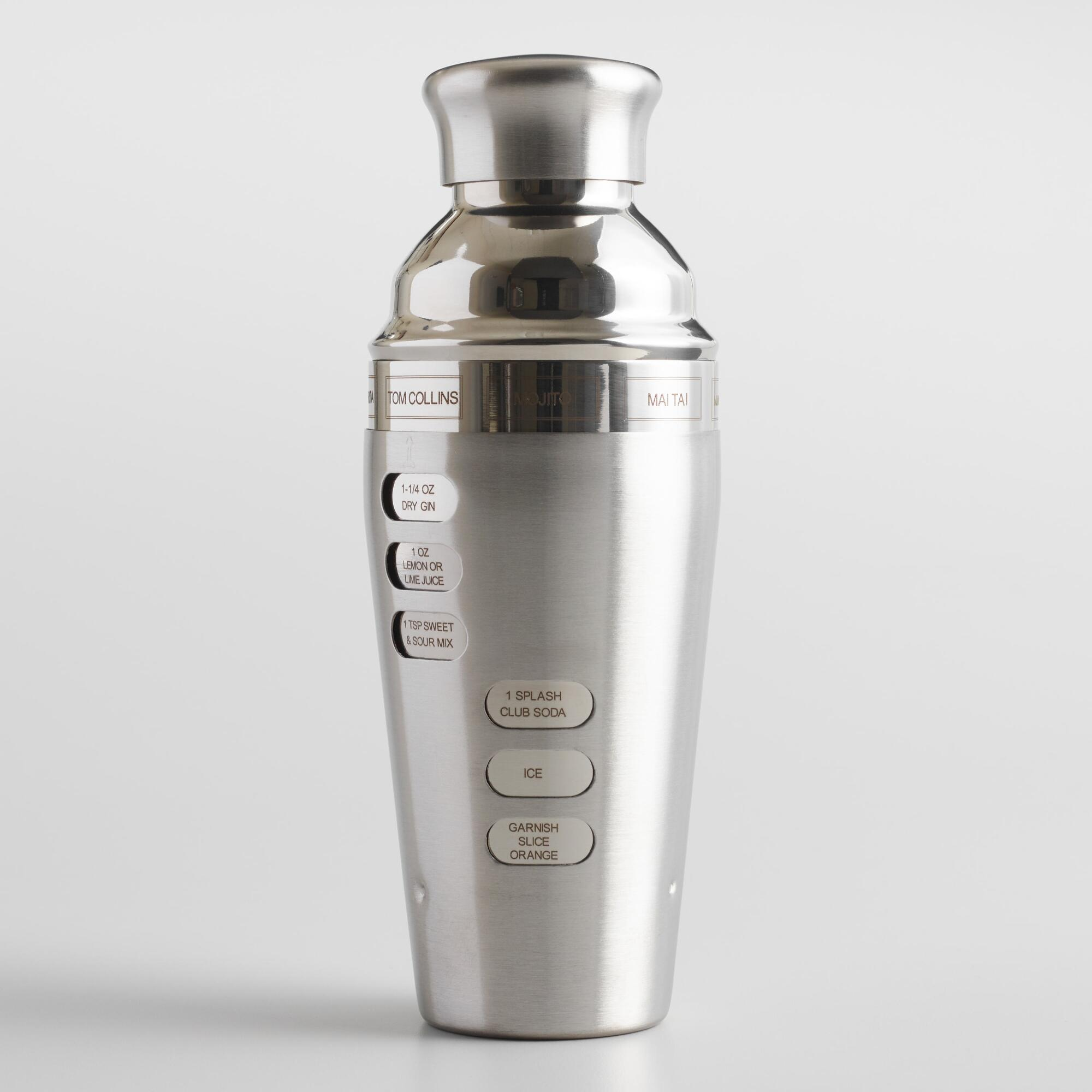 Oggi Dial A Drink Stainless Steel Recipe Cocktail Shaker by World Market