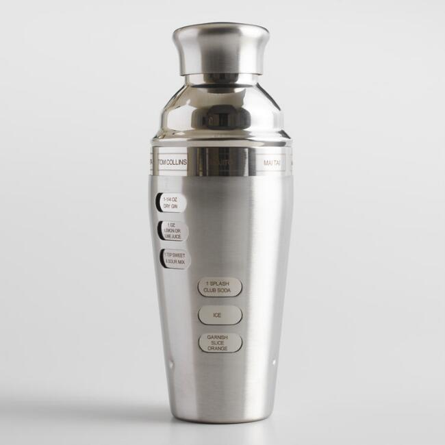 Oggi Dial A Drink Stainless Steel Recipe Cocktail Shaker