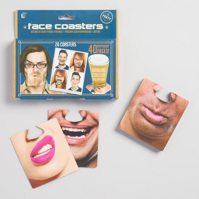 Face Mats Party Coasters 20 Count