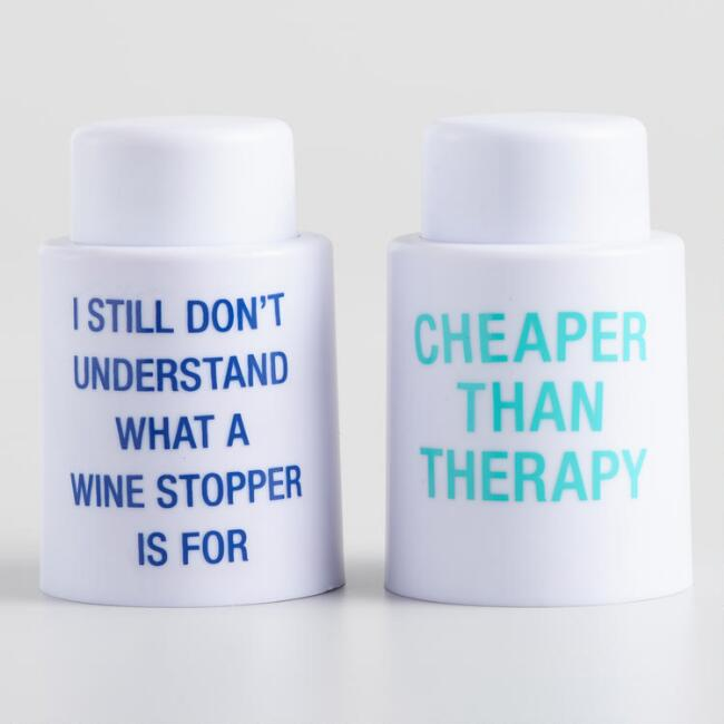 White Wine Stoppers with Text Set Of 2