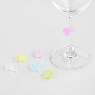 Gemstone Ring Wine Glass Charms 6 Count