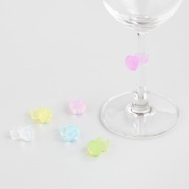 Gemstone Ring Glass Markers 6 Pack