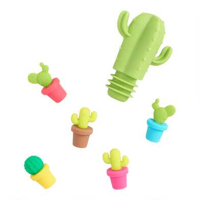 Cactus Wine Glass Markers And Stopper Set