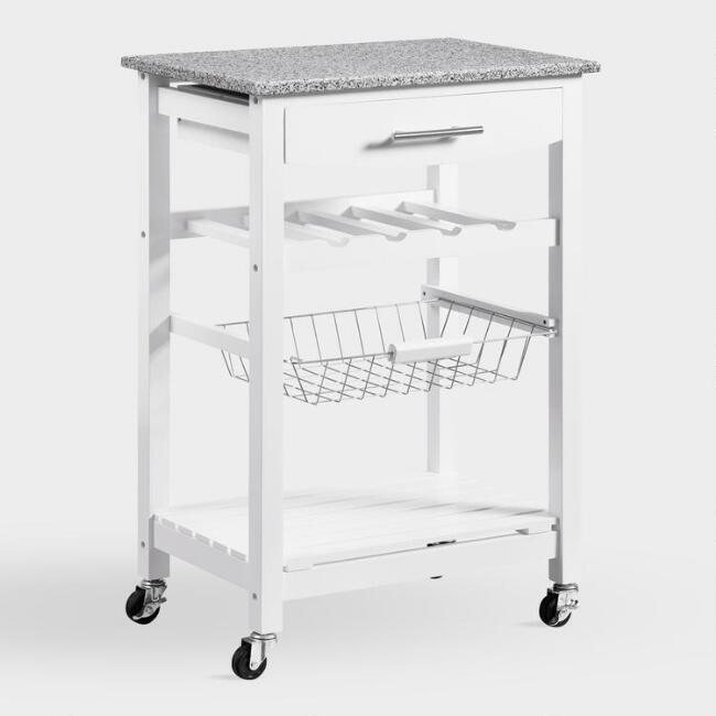 White Wood and Granite Newhall Kitchen Cart