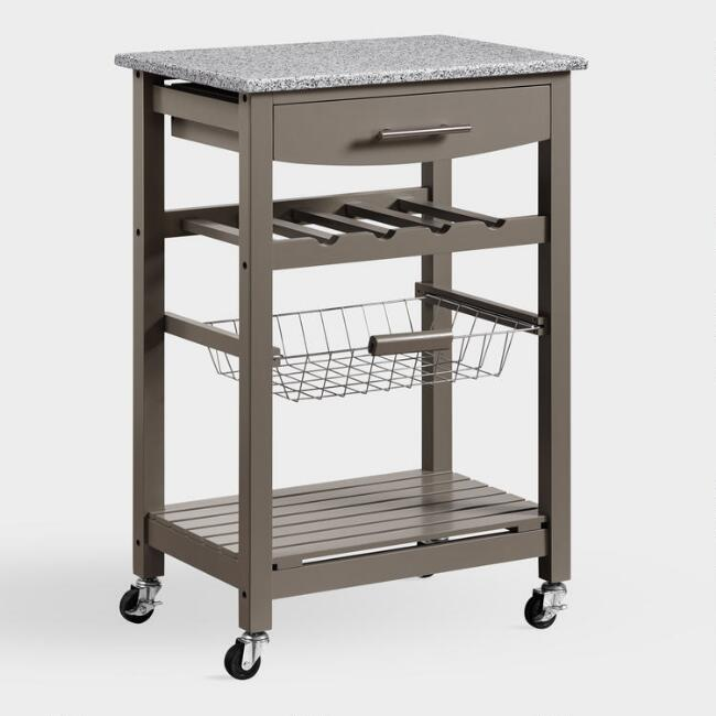 Gray Wood and Granite Newhall Kitchen Cart